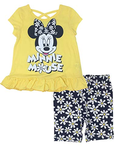 Disney Minnie Mouse Baby Girls' Ruffle Tunic & Bike Shorts Outfit Set (Yellow, 18 Months)]()
