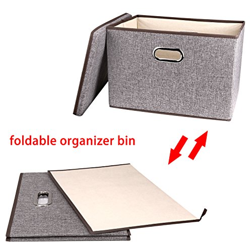 Large Linen Fabric Foldable Storage Container [2-Pack] with Removable Lid and Handles,Storage bin box cubes Organizer - Gray For Home, Office, Nursery, Closet, Bedroom, Living Room by Baseshop (Image #3)