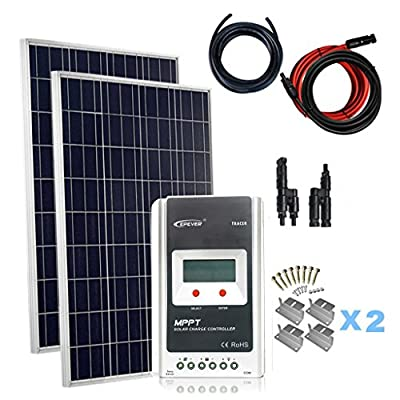 Best Cheap Deal for Giosolar 200W Solar Panel Kit (2 x 100W) solar panel kit battery charger Polycrystalline Panel MPPT LCD controller complete by Giosolar - Free 2 Day Shipping Available