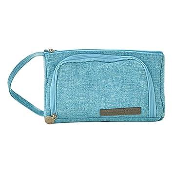 VIKEA 1pcs - Estuche Rosa Grande/bolsa de niña adolescente, 3 Compartimento Rosa, Capacidad Grande De Papel Pouch Estuche con estuche Lino, 20 * 11 ...