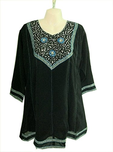 Black Georgette Tunic Multi Color Sequence Work Top (xxl)