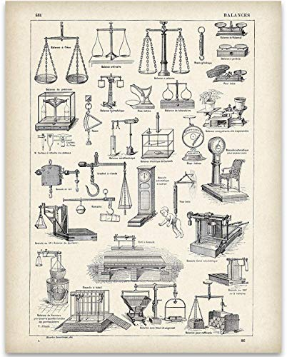 Early 1900s French Scales - 11x14 Unframed Art Print - Perfect Decor for Law Offices and a Great Gift Under $15 for Lawyers and Law Students ()