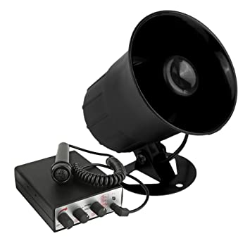 Yosoo 12V 60W 5 Tone Sound Car Siren Speaker Vehicle Horn With Mic PA Speaker System Emergency Sound Amplifier for Hooter//Ambulance//Traffic//Police//Fire Alarm