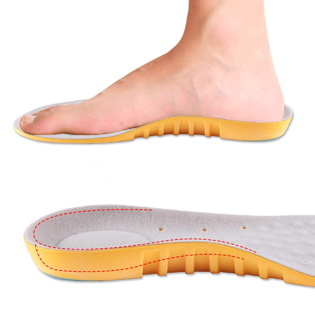 Makaor Sports Insoles - Unisex Men Women Full Length Arch Support Orthotics Insoles, Heel Pain Relief, Shock Absorption for Walking, Running,Hiking, Cuttable Size (Yellow, S)