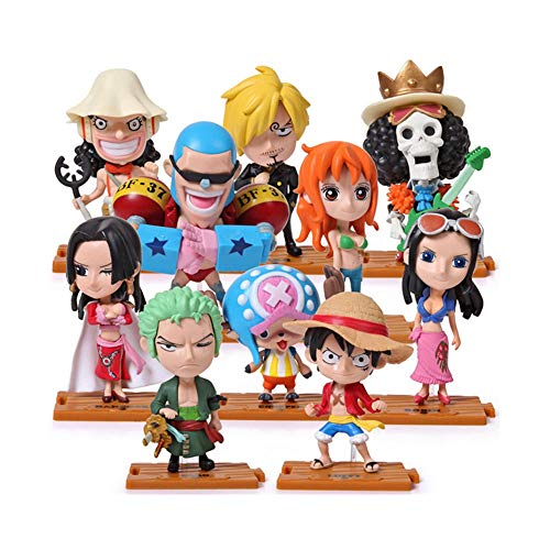 Coz' Place Set of 9 Pieces One Piece Mini Standing Action Figures with Wood-plastic Bases