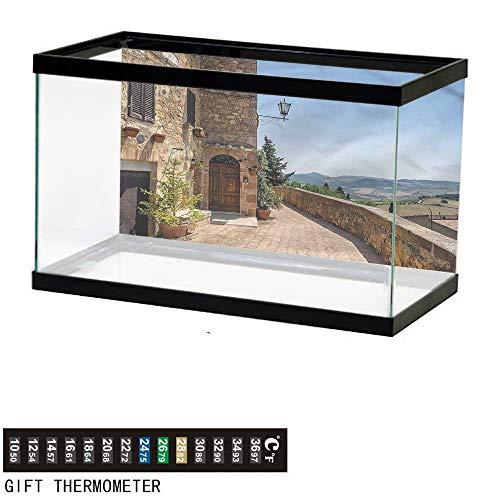 bybyhome Fish Tank Backdrop Italian,Walls of Pienza in Tuscany,Aquarium Background,72