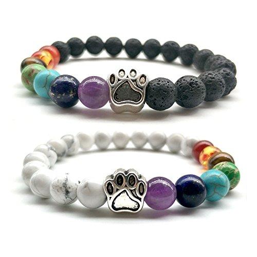 GIONO Pulsera Multicolor de abalorio de Lava, 7 Chakras, Piedra de Lava, Yoga, abalorio de Zen, curación, Gemas Naturales...