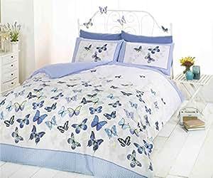 Mariposa Azul Diseño de lunares mezcla de algodón individual (Plain crema sábana bajera ajustable–91x 191cm + 25) 3piezas Juego de ropa de cama