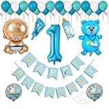 Partigos Party decorations Happy Birthday Bunting 13 flags Banner for 1st ...