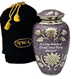 Custom Lavender Cremation Urn, Memorial Brass Adult Human Memorial Urn with Personalization