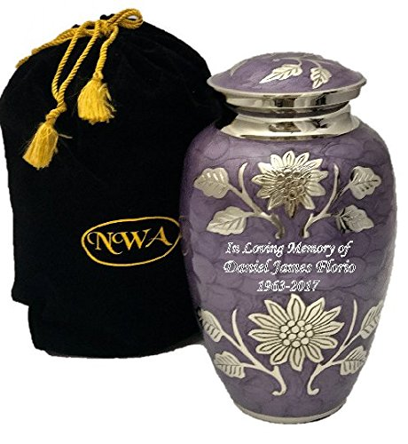 Custom Lavender Cremation Urn, Memorial Brass Adult Human Memorial Urn with Personalization