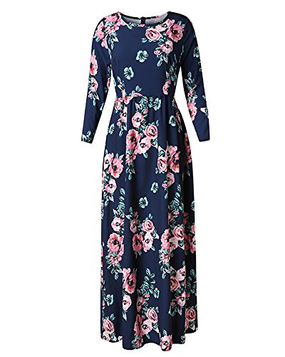 Pxmoda Women's Spring Fashion Printed Long Dress Three Quarter Sleeve Empire Flower Floor-length Dress,Navy Blue,Large