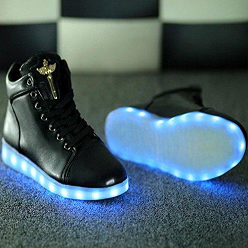 Zapatos ligeros del alto LED de la tapa zapatos ocasionales de la manera de las señoras / de los hombres solo color tela de la PU cordón-para arriba Black