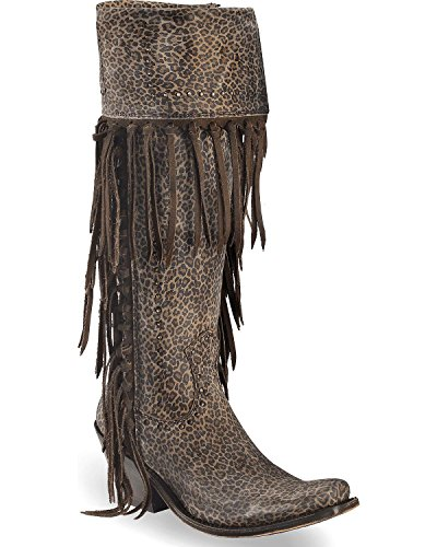 LIBERTY BLACK Women's Dark Micro Jaguar Tall Fringe Boot Narrow Square Toe Dark Brown 7.5 - Fringe Tall