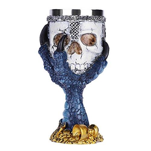 QCHOMEE Halloween Resin 3D Skull Eagle Claw Goblet Stainless Steel Drinking Mug Horror Decor Cup Halloween Prop Skull Cups Goblet Creative Skull Bar Goblet Blue for $<!--$17.02-->