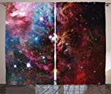 Ambesonne Space Decorations Collection, Space Nebula with Star Cluster in the Cosmos Universe Galaxy Solar Celestial Zone, Living Room Bedroom Curtain 2 Panels Set, 108 X 84 Inches, Teal Red Pink