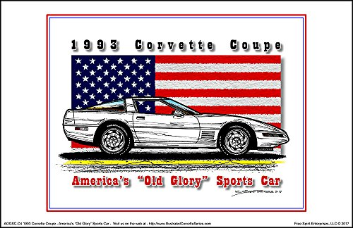 America's Old Glory 1993 Corvette Coupe - American Flag Art Print (1993 Coupe)