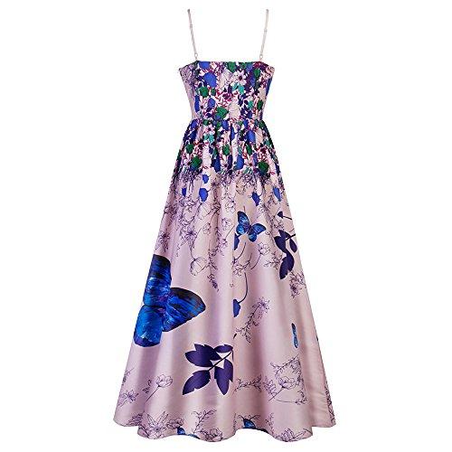 Maxi da Maniche 1950s Vintage Farfalla Stampata Estate Blu Vestiti Dress Multicolori Sera Abiti da Elegante Orchidea Senza YTJH Donna Floreale 8wq1C4vxx