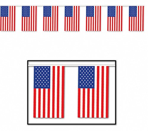 Beistle 50710 Outdoor American Flag Banner, 17 by 60-Feet