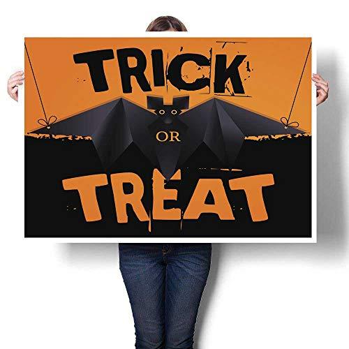 (Poster Prints Hanging Origami bat and Halloween Text Decorative Fine Art Canvas Print Poster K 24