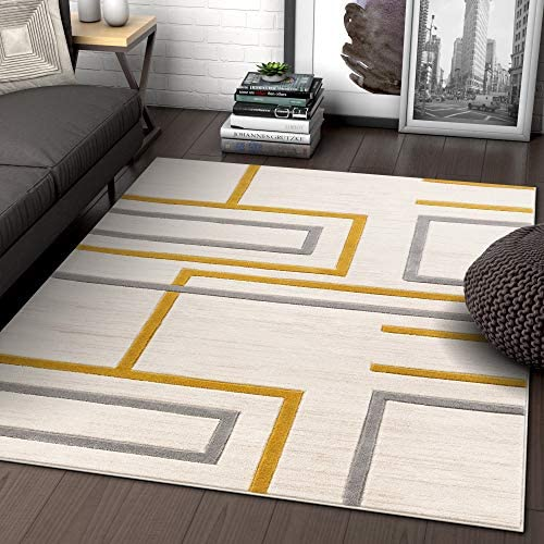Well Woven Fiora Gold Modern Geometric Stripes Boxes Pattern Area Rug 3×5 4×6 3 11 x 5 3