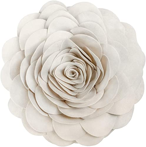 King Rose 3D Flower Home Decorative Accent Throw Pillow Suede Cushion for Sofa Couch Bed Round14 Inches Beige
