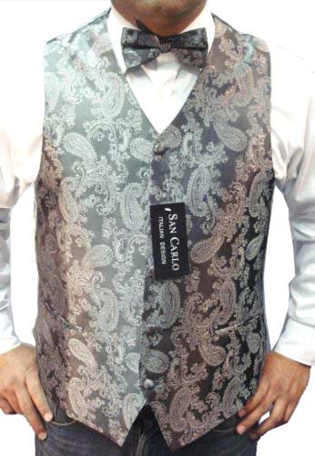 DQT Woven Floral Paisley Gold Mens Wedding Waistcoat /& Bow Tie Set