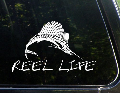 - Reel Life w/ Sailfish Die Cut Decal For Windows, Cars, Trucks, Boats, Etc.