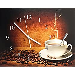 Coffee Wall Clock - Steaming Hot Coffee with Coffee Beans - Canvas Clock Print - Coffee Decorations