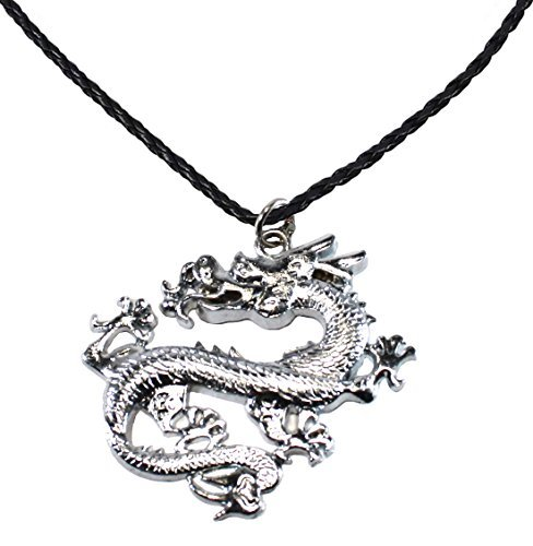 (Bijoux De Ja BDJ Stainless Steel Chinese Dragon Pendant P'Leather Necklace 16+2 Inches (DG010) )