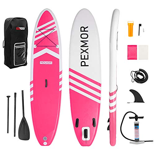 FCH PEXMOR Inflatable Paddle Boards Stand Up 10.5'x30 x6 ISUP Surf Control Non-Slip Deck Standing Boat with Carry Bag, Floated Paddle, Hand Pump, Removable Fin, Leash, Repair Kit (Pink and White)