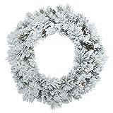 Vickerman Wreath with 140 PVC/Hard needle Tips, Pine Cones & 50 LED Dura-Lit Italian Style UL Lights, 30'', Warm White/Flocked Ashton