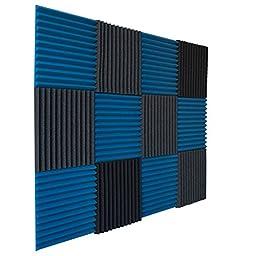 12 Pack- Ice Blue/Charcoal Acoustic Panels Studio Foam Wedges 1\