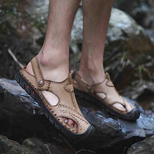 Del All'aperto Scarpe Estate Sandal Baotou Piede Spiaggia Dito Chiuso Comodo Uomini Pelle Khaki Calzature wPax7PrXq