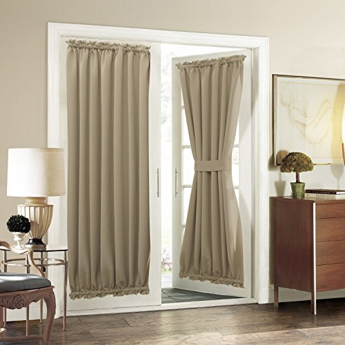 Aquazolax Blackout French Door Curtain Window Treatment Cover for Privacy Heavy-Duty Thermal Insulated Drapery 54Wx72L Sliding Glass Door Panels with Bonus Adjustable Tieback - 1 Pair, Taupe/Khaki
