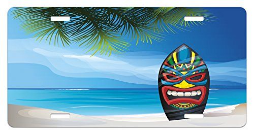 Ocean Tiki Mask (Tiki Bar License Plate by Ambesonne, Tiki Warrior Mask Design Surfboard on Ocean Beach Abstract Landscape Surf Print, High Gloss Aluminum Novelty Plate, 5.88 L X 11.88 W Inches, Multicolor)