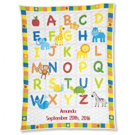 Lillian Vernon Personalized Alphabet Cotton Baby - Embroidered Quilt Baby