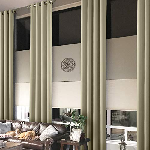 Prim Blackout Curtains Grommet Darkening Thermal Insulated Modern Loft Living Room Curtains Extra Long, Beige, 1 Panel