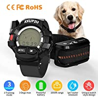 KKUP2U Dog Training Collar, Dog Shock Collar with Watch Remote, 3 Training Modes, Beep, Vibration and Shock, 100% Waterproof Dog Bark Collar, Up to 1000Ft Remote Range for Small Medium Large Dogs
