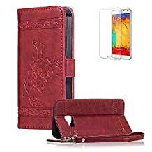 For Samsung Galaxy A3 2016 Cover [with Free Screen Protector],Funyye Premium Classic Vintage Embossed Wallet Case with [Wrist Strap] and [Credit Card Holder Slots] Stand Function Book Type Durable PU Leather Shell for Samsung Galaxy A3 2016 -Red