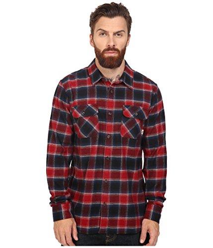 Vans Men's Banfield Plaid Flannel Long Sleeve Shirt (Medium, Black/Red Dahlia)