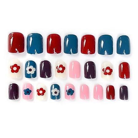 Buleerouy - Juego de 24 uñas postizas acrílicas con diseño ...