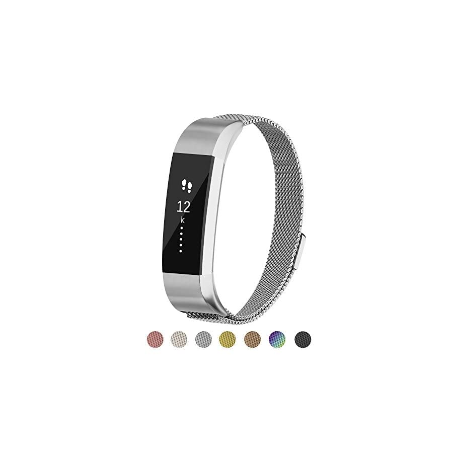 POY Metal Replacement Bands Compatible for Fitbit Alta, Milanese Loop Stainless Steel Bracelet Smart Watch Strap with Unique Magnet Lock