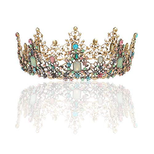 SNOWH Baroque Queen Crowns and Tiaras, Crystal Wedding Crown for Women Vintage Birthday Tiara Costume Party Hair Accessories with Gemstones -