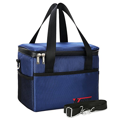 Yiiyaa Lunch Box Insulated Tote Cooler Bag Reusable Large Capacity Waterproof Thermal Foldable Food Container with Adjustable Strap Soft Leakproof Liner for Office School Picnic Hiking (Insulated Plastic Liner)