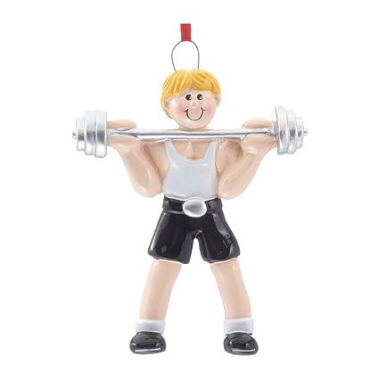 Figura decorativa personalizada para árbol de Navidad 2018 – Boy Workout Barbell cargado con platos mancuernas