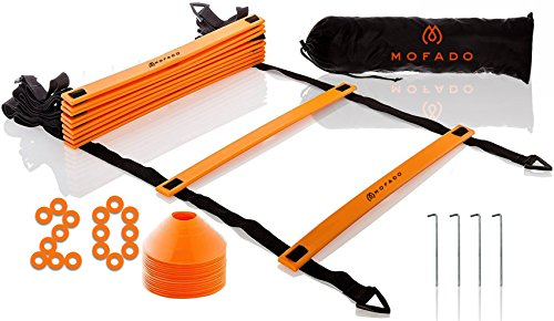 Premium Agility Ladder and Cones – 20 Field Cones – 12 Rung Speed Ladder – 19ft Length – Speed Training Equipment for Football, Soccer & other Sports – Set of 4 Metal Pegs & Carrying Bag