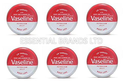 Vaseline Lip Therapy Petroleum Jelly 20g with Rose & Almond Oil ROSY LIPS x 6 Tins