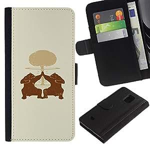 "A-type (Oso High Five"") Colorida Impresión Funda Cuero Monedero Caja Bolsa Cubierta Caja Piel Card Slots Para Samsung Galaxy S5 Mini (Not S5), SM-G800"