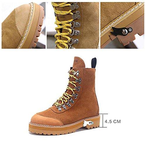 37 BLACK Leather Women's Boots Genuine NSXZ High Short Fashion Scrub zg8OwUO